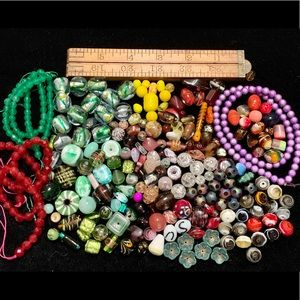 Variety of glass beads vintage to now for jewelry